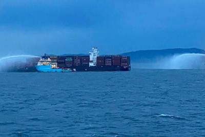 Fire burns aboard container ship off coast of British Columbia