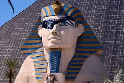 Sphinx at Las Vegas casino sports Raiders eye patch